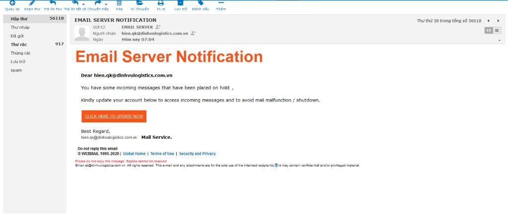 Khách hàng sẽ nhận được Email với dạng mang nội dung tài khoản Email gặp vấn đề