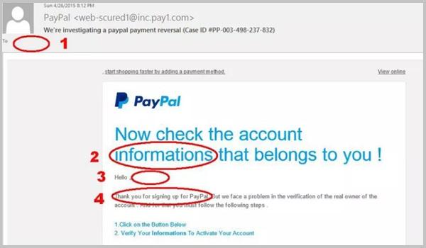 Các Email lừa đảo thường có dấu hiệu sai chính tả, ngữ pháp,...