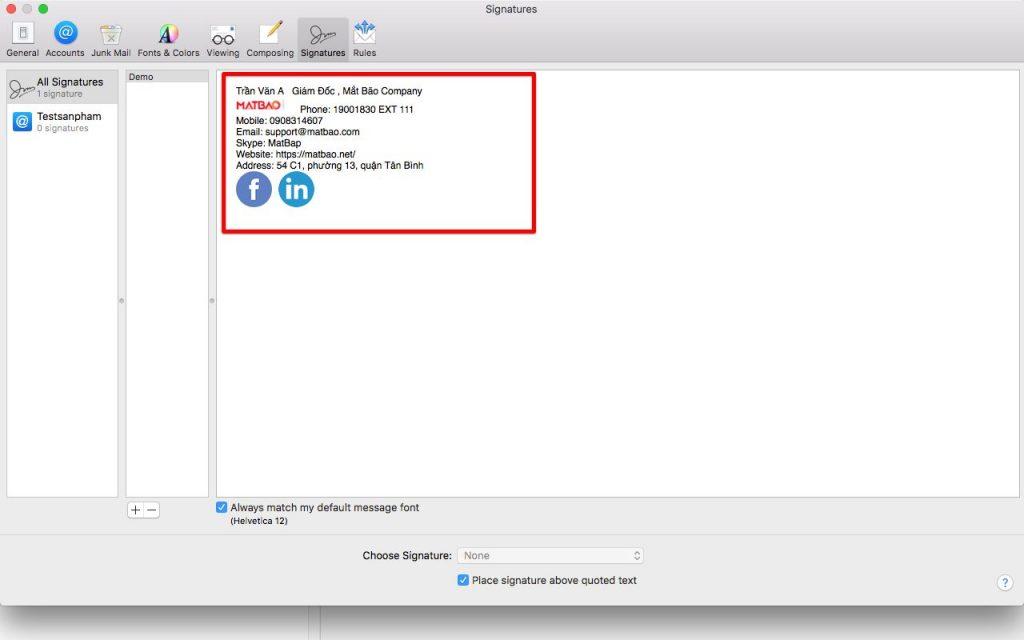 Bạn hãy đưa chuột vào khung chữ ký và sử dụng tổ hợp phím COMMAND ⌘ + V để pass nội dung chữ ký trước đó đã copy vào nhé.
