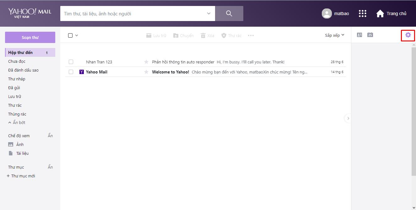 Khi đang ở giao diện của Yahoo, bạn hãy click vào mục Bánh răng