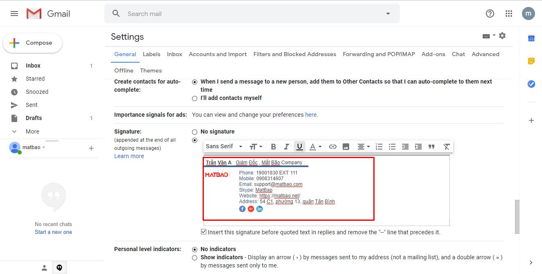 Bây giờ, bạn hãy click chuột vào khung chữ ký và sử dụng tổ hợp phím CTRL + V để pass nội dung chữ ký trước đó đã copy vào nhé.