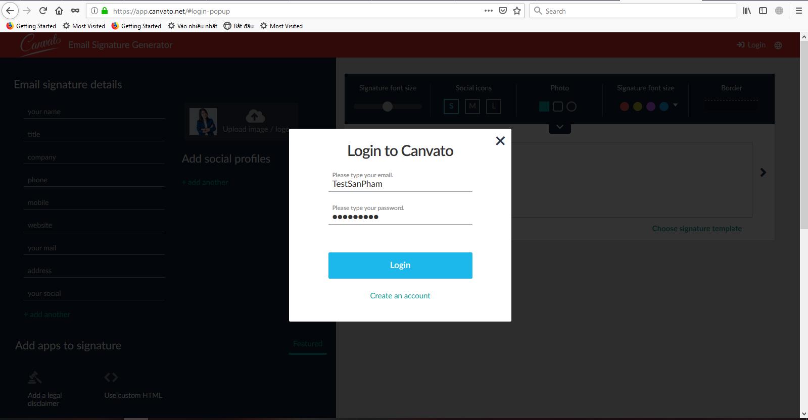 Đầu tiên để sử dụng dịch vụ này, bạn cần truy cập vào địa chỉ https://app.canvato.net/