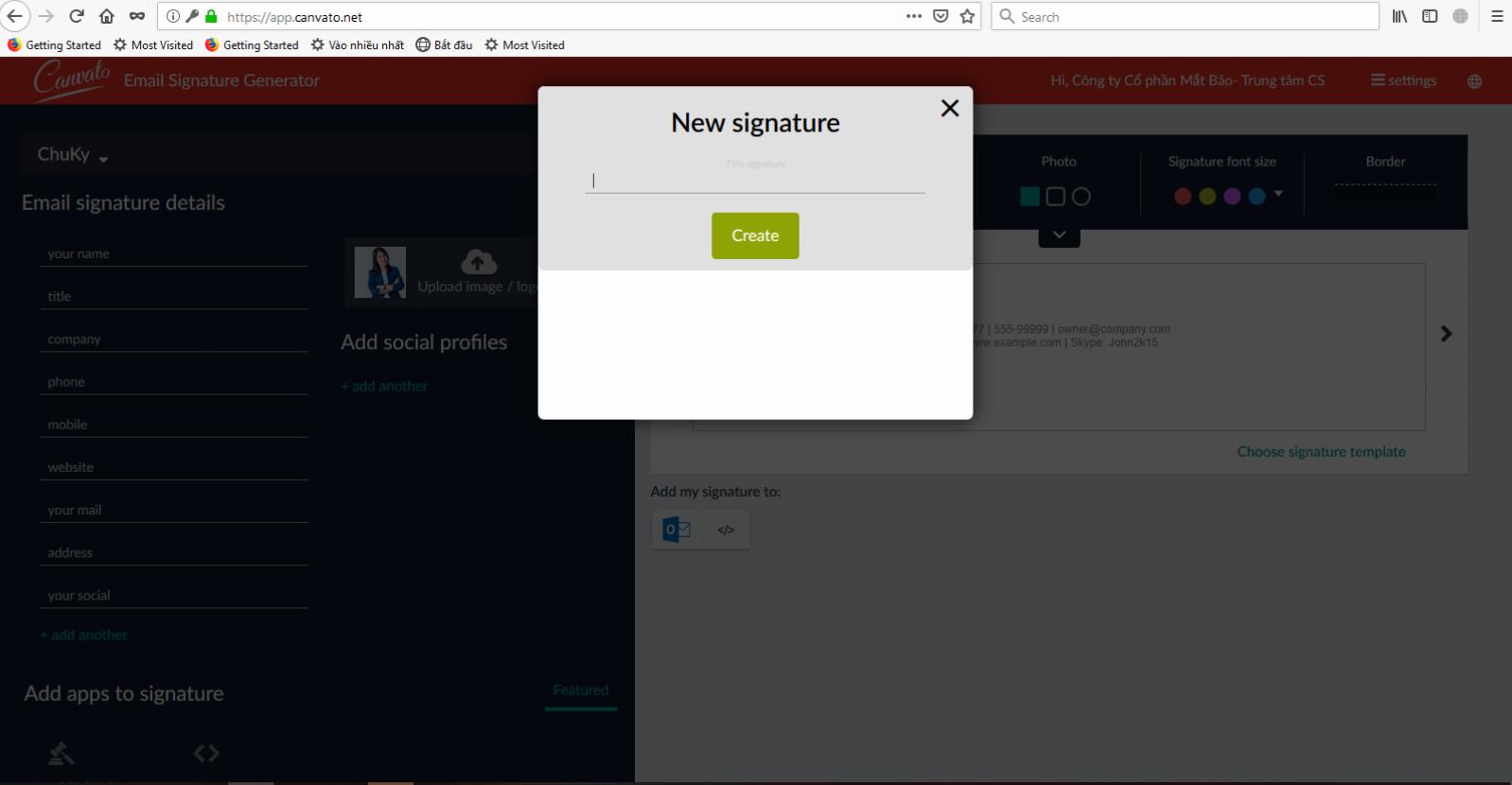 Đặt tên cho nội dung chữ ký cần tạo ra