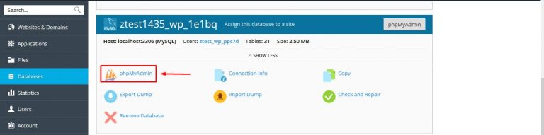 Bước 2: Trong giao diện Databases → phpMyAdmin