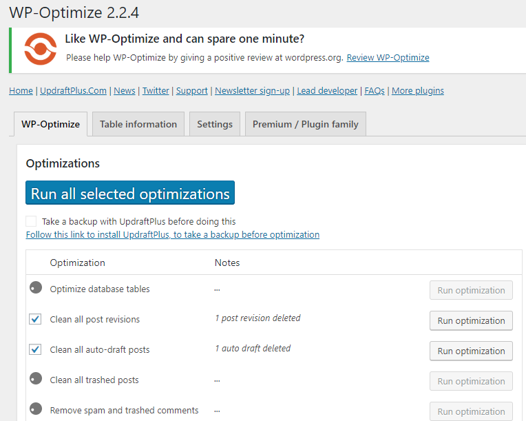cài đặt plugin wp optimize cho wordpress